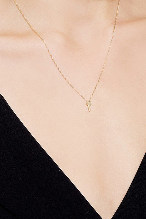 Lauren Klassen Tiny Key Necklace - Gold