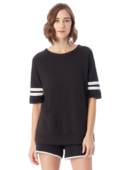 Alternative Apparel Fifty Yardliner French Terry T-Shirt in Black & White