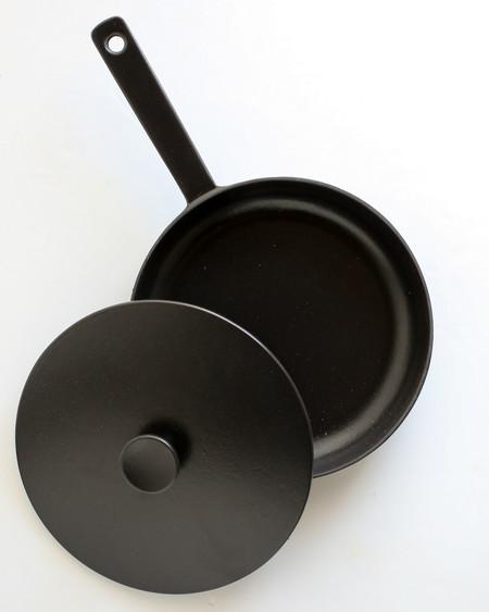 Crane Cookware Enameled Cast Iron Frying Pan w/ Lid