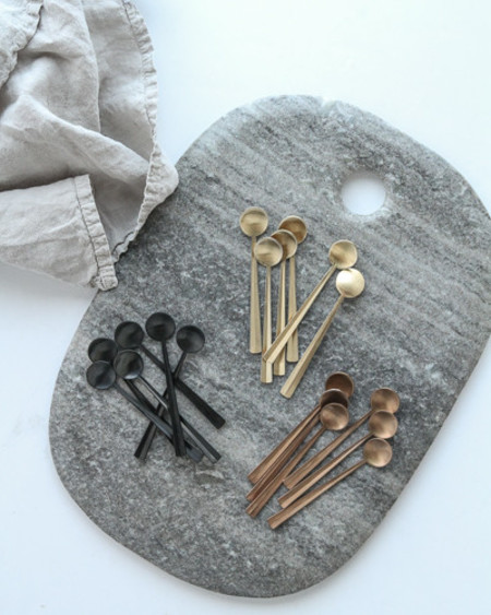 Canvas Set of 6 Gold/Black Coffee Spoons