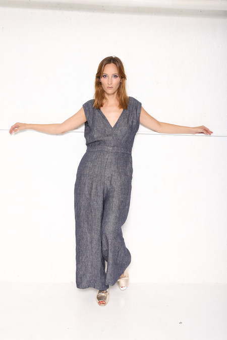 """""""INTENTIONALLY __________."""" TEA JUMPSUIT in Washed Chambray"""