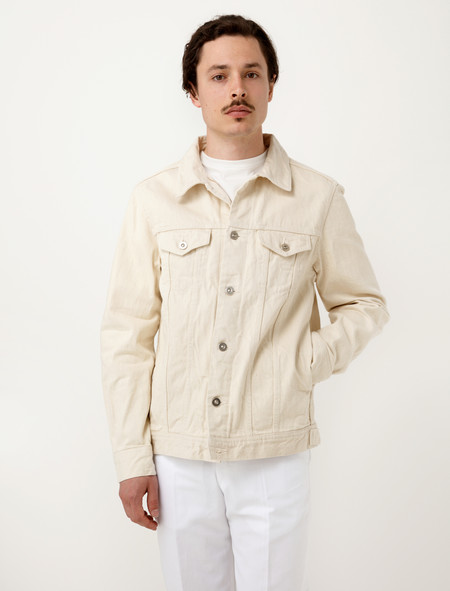 Niuhans Natural Dye Selvedge Jean Jacket Ivory