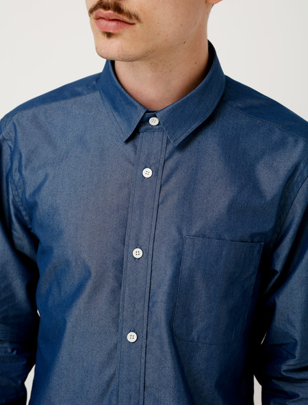 Niuhans Supima Cotton Silk Dungaree Shirt - Indigo