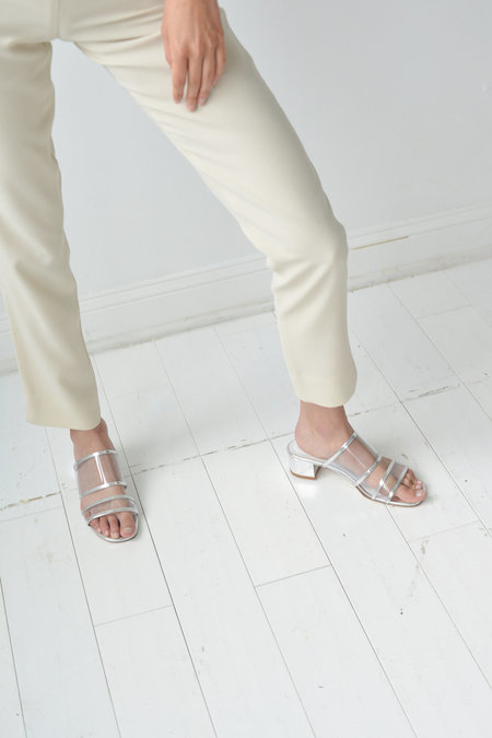 Maryam Nassir Zadeh Martina Clear Slide in Silver Metallic