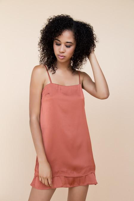 Between TenFay Slip Dress - Rust Satin