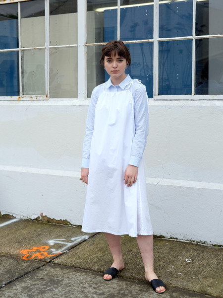 Lloyd Drawstring Dress In White Poplin