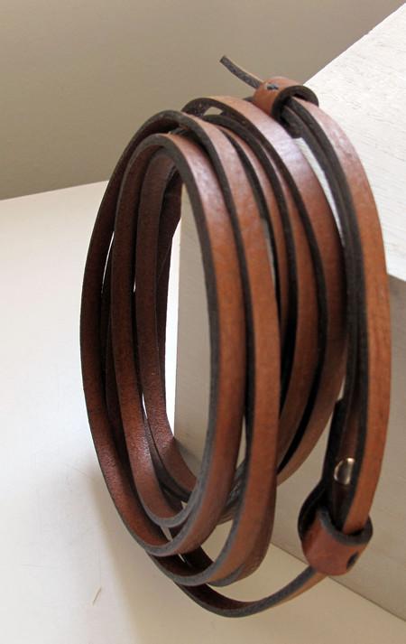 De Palma Leather Thin Wrap Belt - Tobacco