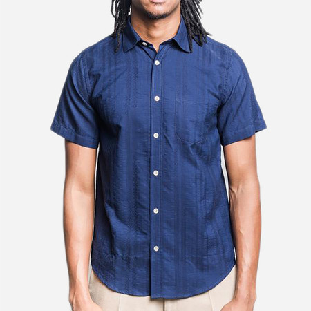 Portuguese Flannel Colonial Short-Sleeve Shirt - Navy