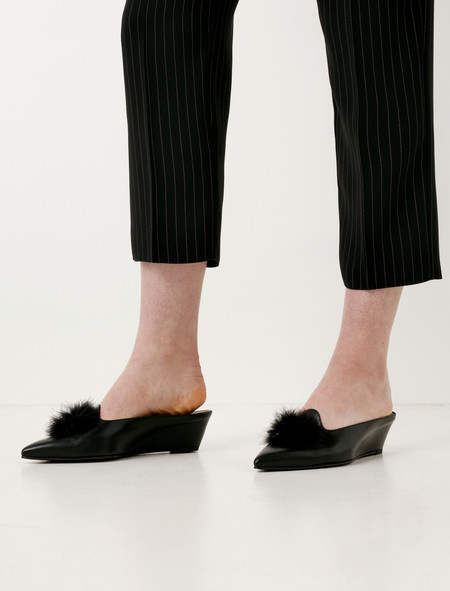 Trademark Castaigne Marabou Slide - Black