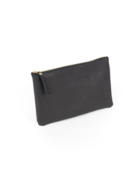 Wood&Faulk Black Slouch Leather Clutch