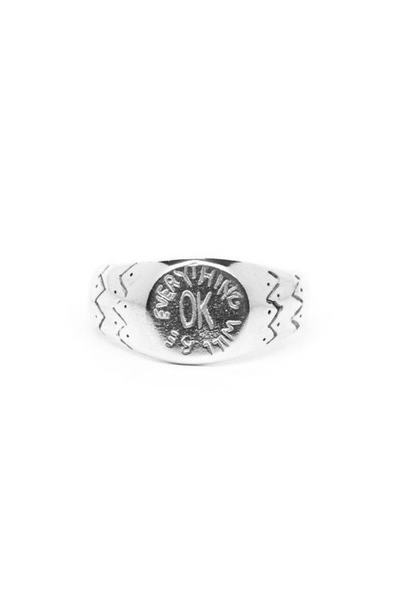 I Like It Here Club OK Signet Ring, silver