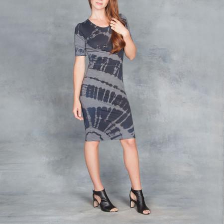 Raquel Allegra Short Sleeve Fitted Dress Midnight Tie Dye