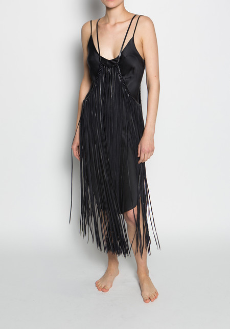 Caravana large leather cape with long fringe