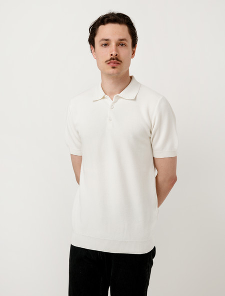 Sunspel Mens Mesh Textured Polo Off White