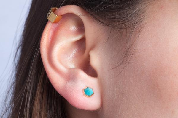 Shahla Karimi Hex Set Earrings with Turquoise