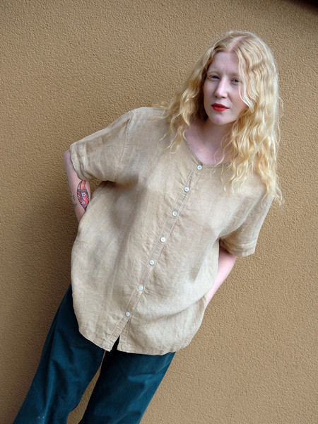 Shop Boswell VINTAGE LINEN BUTTON DOWN TOP IN TAN