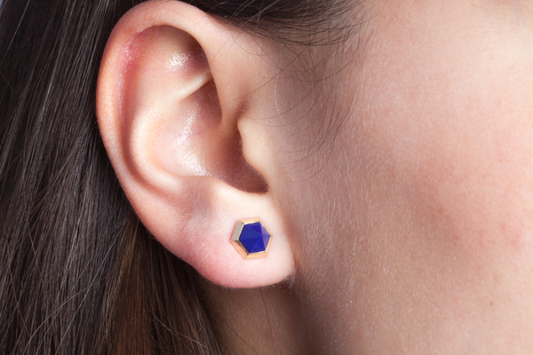 Shahla Karimi Hex Set Earrings with Lapis