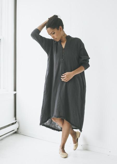 Black Crane Double Gauze Dress in Dark Grey