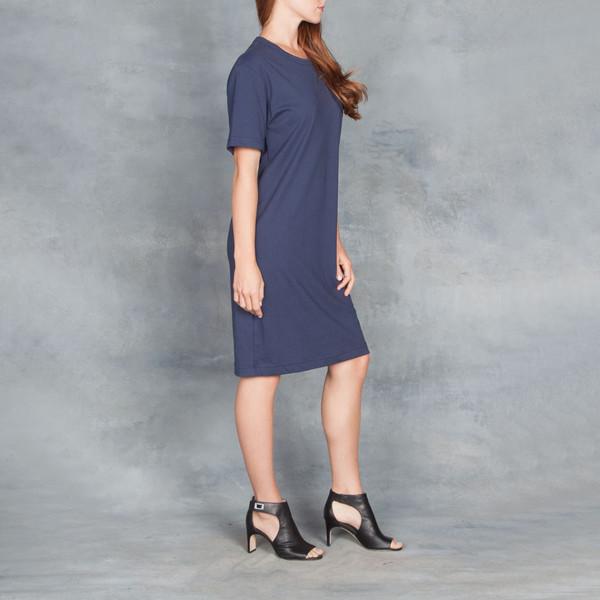 Organic by John Patrick SS Tee Dress Navy