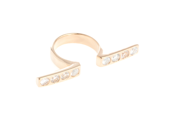 Shahla Karimi In-Between Bars Ring with White Topaz