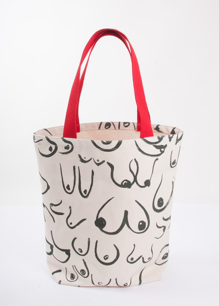 Gravel & Gold The Boobs Tote - White