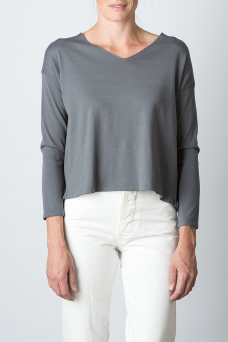 Evam Eva Cotton Silk V Neck Pullover In Dove Gray