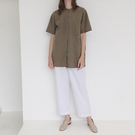 Johan Vintage Olive Double Button Shirt