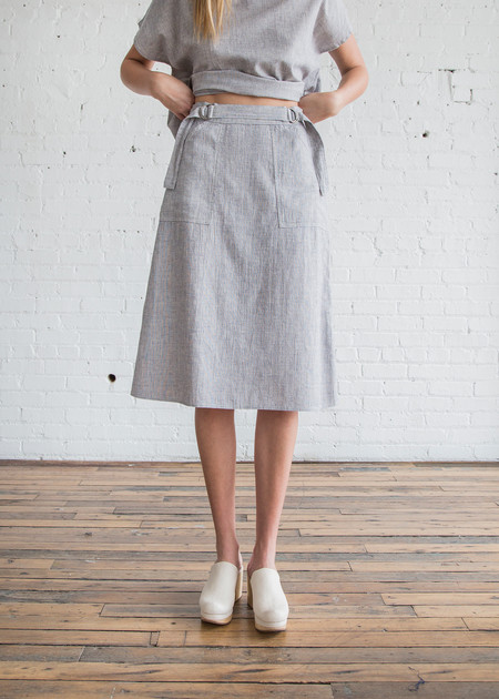 Calder Blake O'Keefe Skirt in Indigo Chambray