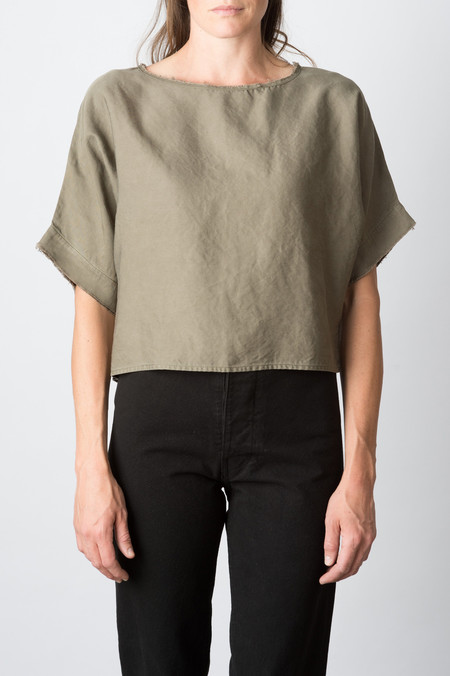 Hackwith Raw Finish Tee In Olive