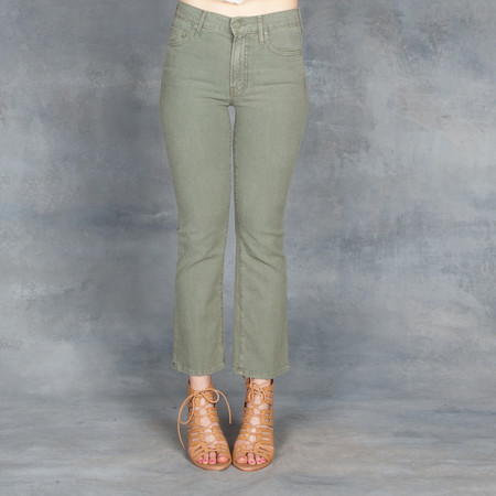 Mother Jeans Military Green The Insider Crop
