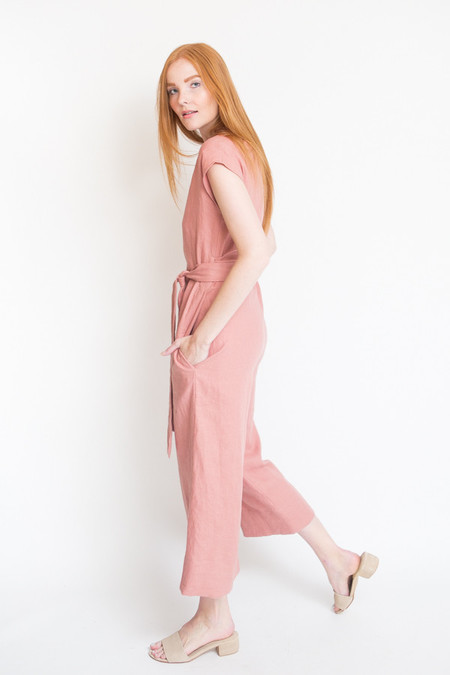 Lauren Winter Wraparound Jumpsuit - Rose Linen