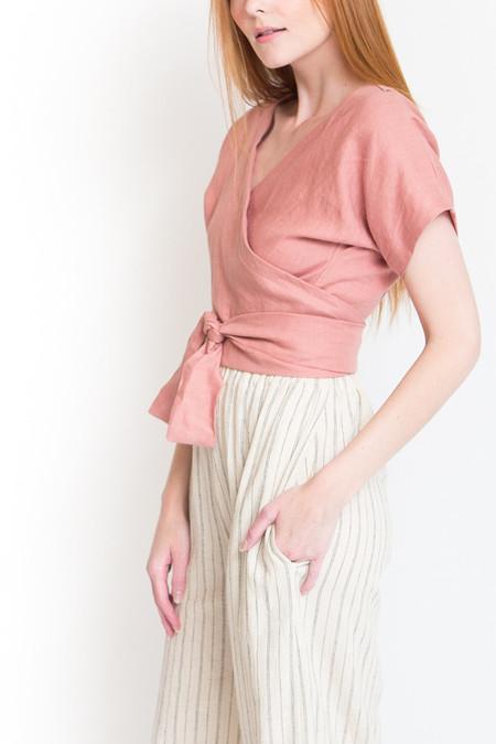 Lauren Winter Wraparound Top - Rose Linen