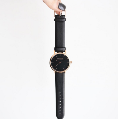 Piperwest Classic Minimalist in Rose Gold + Black/Black