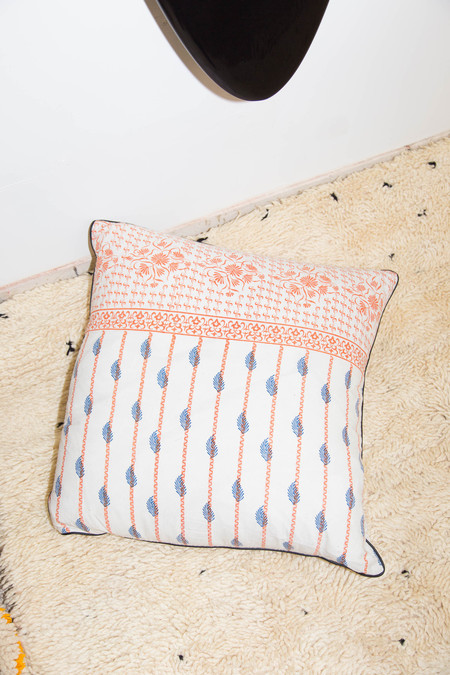 Heidi Merrick Orange & Blue Patterned Pillow