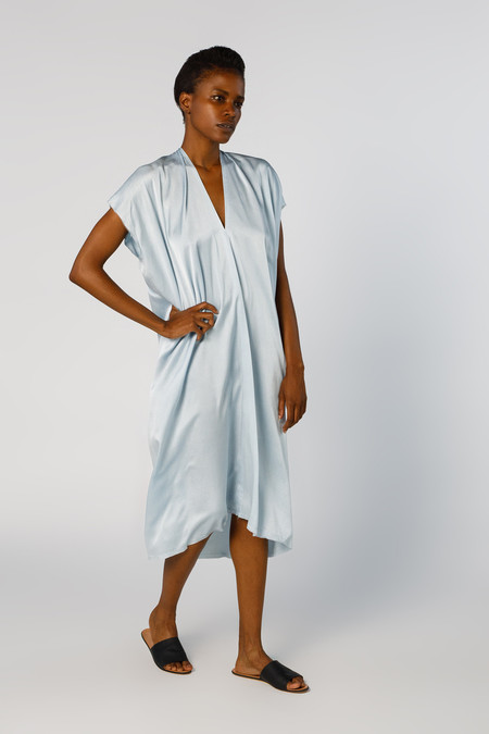 Miranda Bennett Ed. VIII Everyday Dress, Silk Charmeuse in Light Indigo