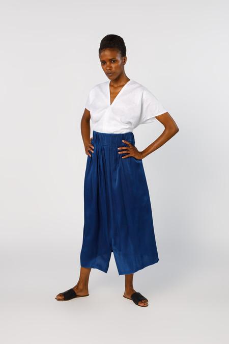 Miranda Bennett Paper Bag Skirt, Silk Charmeuse in Dark Indigo