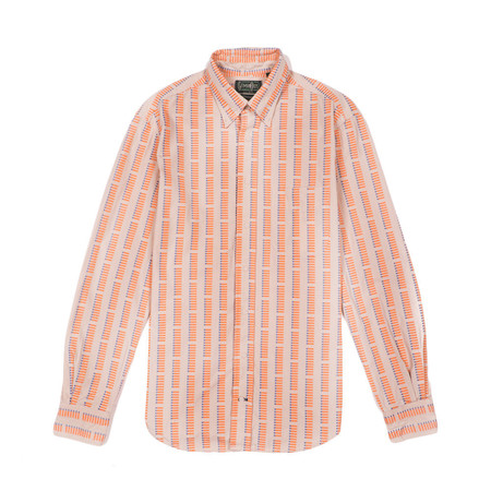 GITMAN BROS. Button Down Shirt—Orange Jacquard Dash