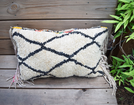 Friends & Neighbors Ivory/Black Diamond Morocco Pillow