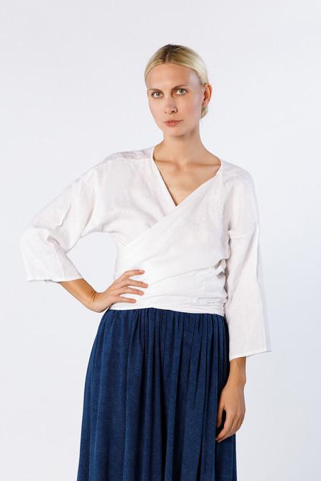 Miranda Bennett Studio Wrap Top, Linen in White