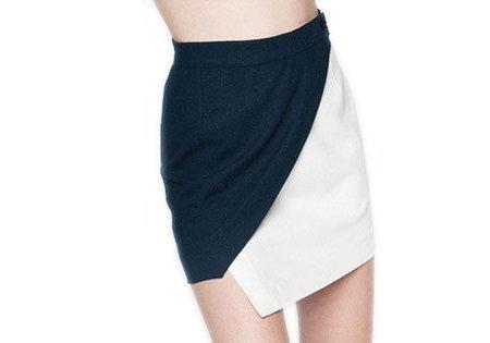 Diarte Ross Navy Cream Silk Skirt
