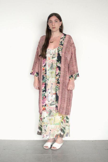 Strathcona Pink Snake Skin Silk Kimono Robe