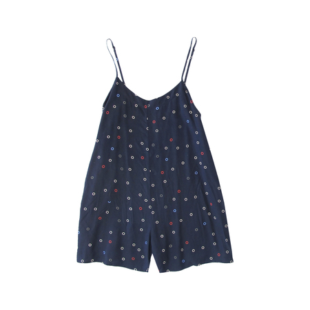 Ali Golden RAYON ROMPER - NAVY DOT