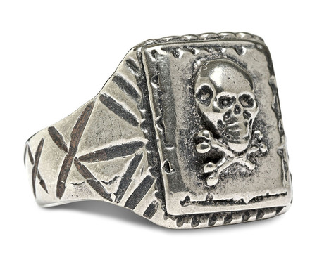 FORTUNE GOODS SKULL RING IN WHITE BRONZE