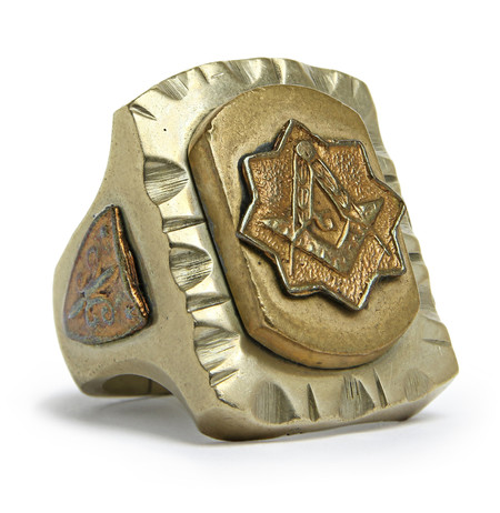 FORTUNE GOODS VINTAGE 1940's FREE MASONS MEXICAN BIKER RING