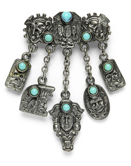FORTUNE GOODS VINTAGE 1950's MEXICAN AZTEC SILVER / TURQUOISE PIN