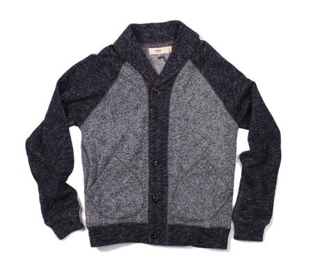 Creep Shawl Collar Cardigan | Navy Fleece