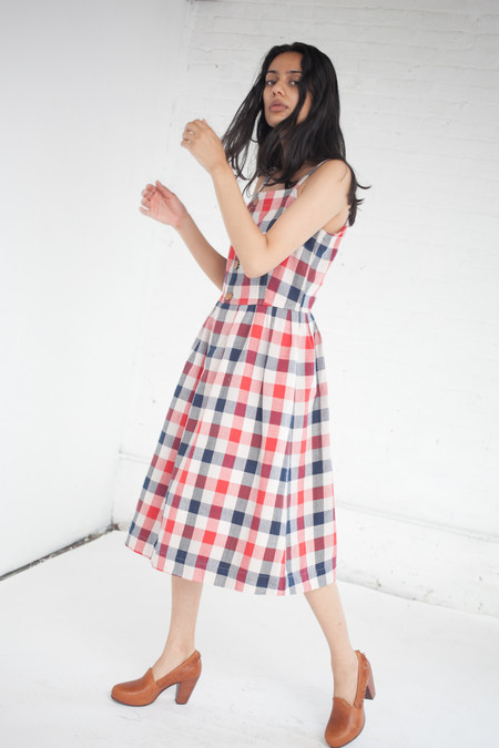Visvim Riviera Dress in Red/Indigo Check