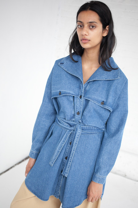 69 Safari Trench Dress in Medium Light Denim
