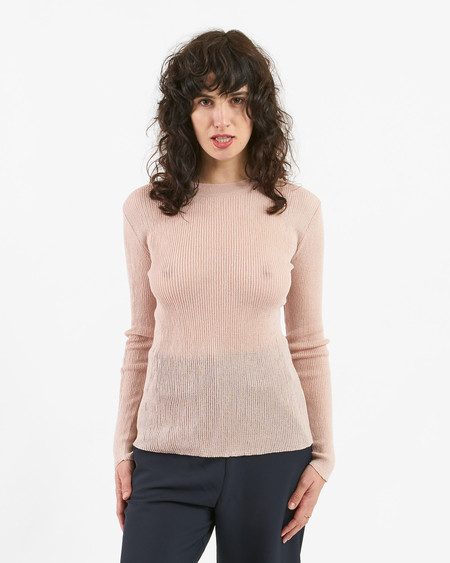 Achro round neck thin ribbed knit top