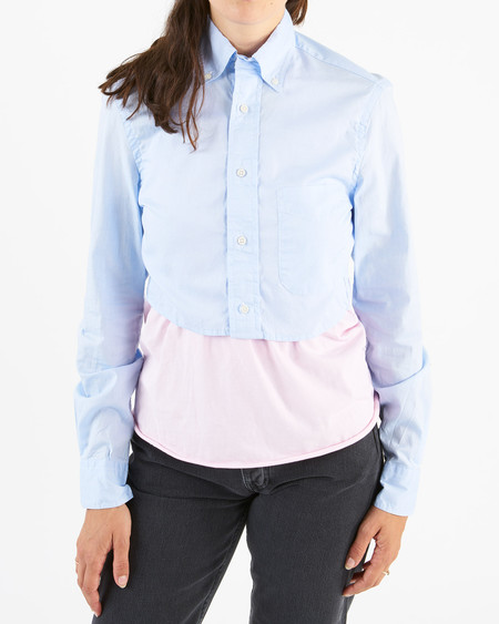 Gitman Sister long sleeve crop top - blue oxford